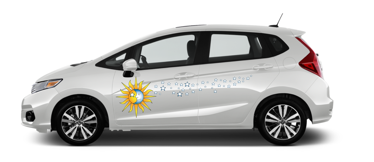 White-Honda-Fit-Celestial-Sky-Decal Sun Moon face with stars
