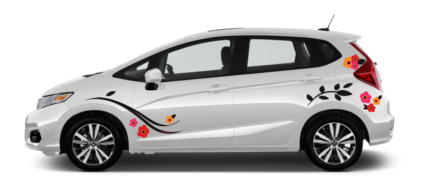 White Honda Fit Poppy Ridge black swirl branch leaves red orange and pink marimekko poppies unikko